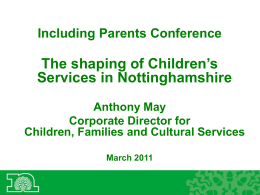 Including Parents Conference presentation by Anthony May