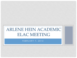Arlene Hein Academic Elac meeting