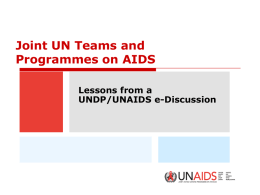 UNAIDS Technical Support Facilities (TSFs)