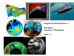 Geophysical Fluid Dynamics-I