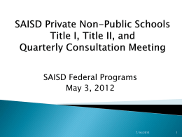 SAISD Private Non-Public Schools Title I, Title II, and