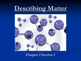 Describing Matter - Verdugo Hills High School