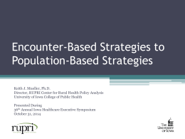 Encounter-Based Strategies to Population