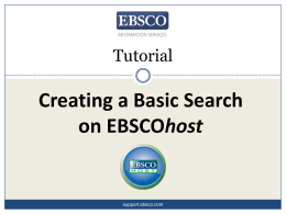 Basic search tutorial - EBSCO Support: Support Site