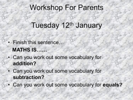Workshop For Parents Tuesday 12th January