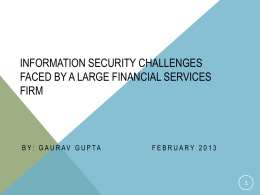 Information security and Privacy Challenges faced by a