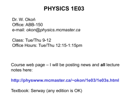 PHYSICS 1E3 - McMaster Physics and Astronomy
