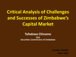 Critical Analysis of Challenges and Successes of Zimbabwe