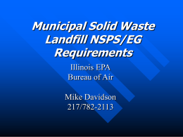 IEPA Implementation of the New Municipal Solid Waste