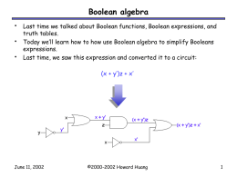 Boolean Algebra - University of Illinois at Urbana–Champaign