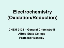 Redox Reactions - Alfred State College