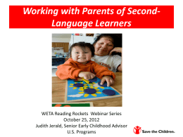 Working with Parents of Second