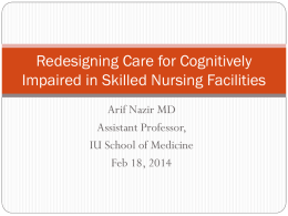 Redesigning Care for Cognitively Impaired in Sub
