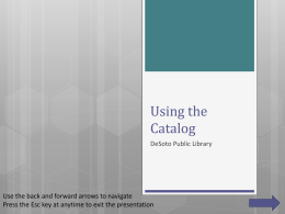 Using the Catalog