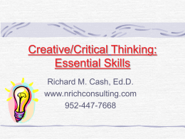 Creative Thinking: An Essential Skill