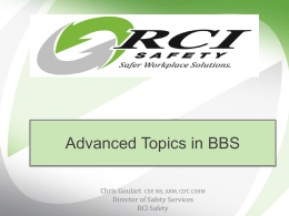 Advanced Topics in Behavioral Safety