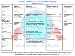 Safety Checklist for Office-Based Surgery (from the I S O B S)