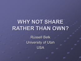 OWNERSHIP, EGO, AND SHARING - University of Wisconsin