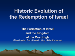 Historic Process of the Redemption of Israel