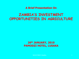 ZAMBIA'S AGRICULTURAL POTENTIAL