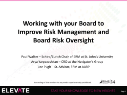 Example: Board Risk Reporting