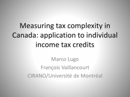 Measuring tax complexity in Canada: application to