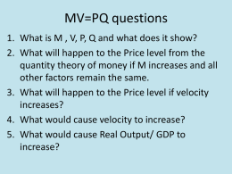 MV=PQ questions - CHS Commerce Department
