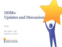 DDM Technical Assistance and Networking Session 1: Agenda