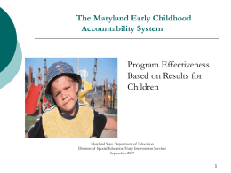 The Maryland Early Childhood Special Education