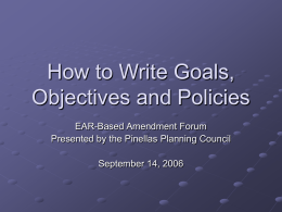 How to Write Goals, Objectives and Policies