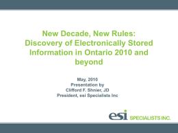 Discovery of Electronically Stored Information