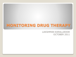 MONITORING DRUG THERAPY - University of Peradeniya