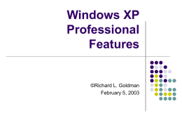 Windows XP Professional - Pioneer Pacific College