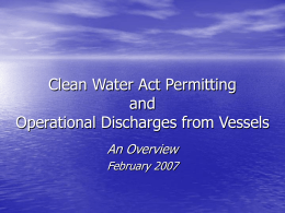 Clean Water Act Permitting and Operational Discharges from