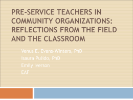 Pre-service teachers in community organizations