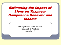 Estimating the Impact of Liens on Taxpayer Compliance