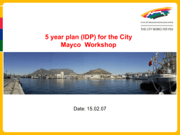 The City of Cape Town's Role in Creating a Better Life for All