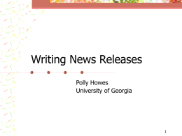Writing News Releases - Southern Center for Communication