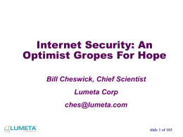 Internet security: An optimist Gropes for Hope