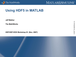 Using HDF5 in MATLAB - HDF-EOS