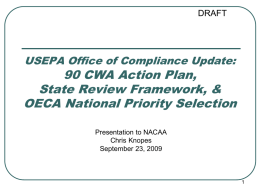 USEPA Office of Compliance Update: 90 CWA Action Plan