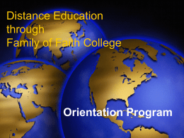Distance Education through Family of Faith College