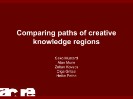 Comparing paths of creative knowledge regions