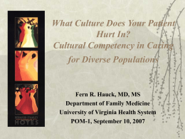 Cultural Competence in Healthcare