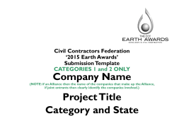 Civil Contractors Federation '2013 Earth Awards