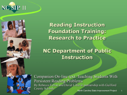 Reading Instruction Foundation Training: Research to