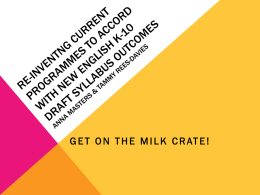 AIS Presentation - Get on the Milk Crate