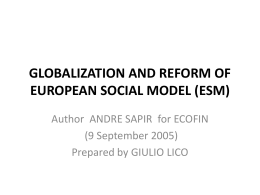 GLOBALIZATION AND REFORM OF EUROPEAN SOCIAL MODEL …