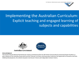 Implementing the Australian Curriculum: Explicit teaching