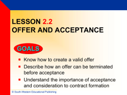 Lesson 2.2 Offer and Acceptance